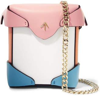 Atelier MANU Pristine Micro Color-block Leather Shoulder Bag - White