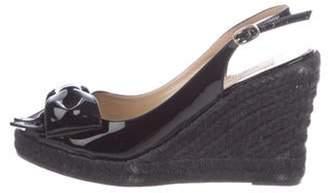 Valentino Patent Leather Espadrille Wedges Black Patent Leather Espadrille Wedges