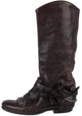 Ermanno Scervino Leather Round-Toe Boots