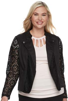 Candies Juniors' Plus Size Candie's Lace Moto Jacket