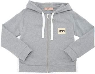 N°21 Hooded Light Cotton Zip-Up Sweatshirt