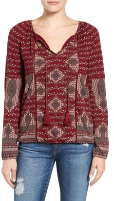 Women's Lucky Brand Placed Print Peasant Top $59.50 thestylecure.com