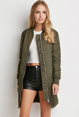 FOREVER 21 Longline Bomber Jacket $49.90 thestylecure.com