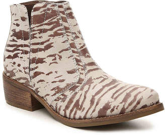Matisse Fury Western Bootie -Brown/Cream Zebra Print Leather - Women's