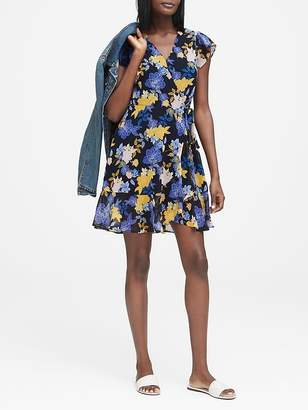 Banana Republic Petite Floral Ruffle Wrap Dress