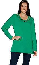 Factory Quacker Grommet Long Sleeve Tunic Top