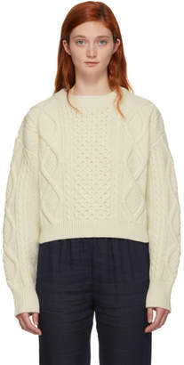 3.1 Phillip Lim Off-White Cropped Boxy Aran Cable Sweater