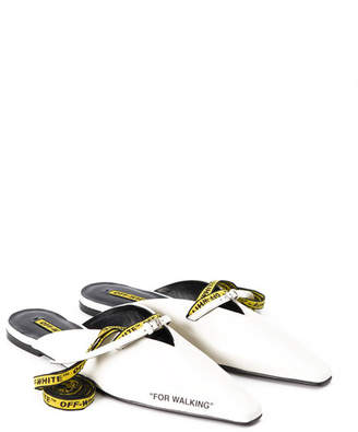 Off-White For Walking Leather Mule Slide Flat, White