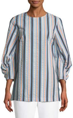 Lela Rose Full-Sleeve Striped Blouse