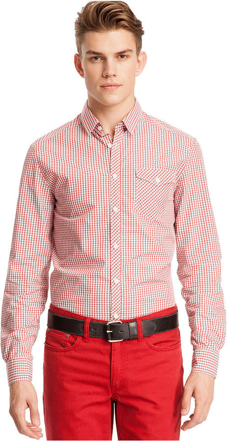 Kenneth Cole Reaction Shirt, Long Sleeve Check Patch Pocket Shirt