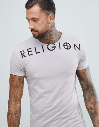 Religion muscle fit t-shirt with branding in ash pink