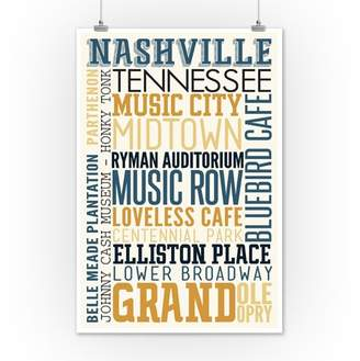Nashville, Tennessee - Typography - Lantern Press Artwork (12x18 Art Print, Wall Decor Travel Poster)