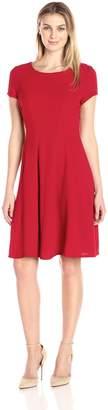 Sandra Darren Women's 1 Pc Short Cap Sleeve Bi Stretch Crepe Fit and Flare Dress