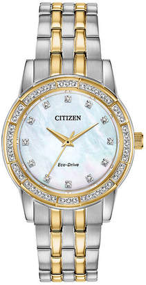 Citizen Silhouette Crystal Womens Crystal Accent Two Tone Stainless Steel Bracelet Watch-Em0774-51d
