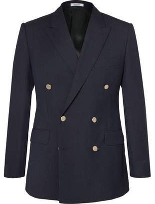 Husbands Navy Slim-Fit Double-Breasted Wool Blazer