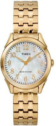 Timex Women's Briarwood Gold-Tone/MOP Watch, Stainless Steel Expansion Band