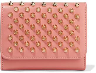 Christian Louboutin - Macaron Mini Spiked Leather Wallet - Antique rose $470 thestylecure.com
