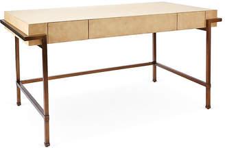 "One Kings Lane Parchment 60"" Writing Desk - Cream/Brass"