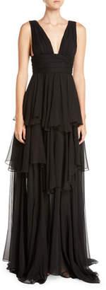 Caroline Constas Paros Tiered Ruffle Maxi Dress