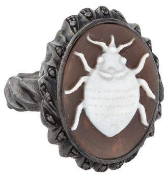 Black Diamond Amedeo Beetle Shell Cameo Cocktail Ring