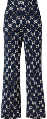 Gucci Cotton-jacquard Flared Pants - Navy