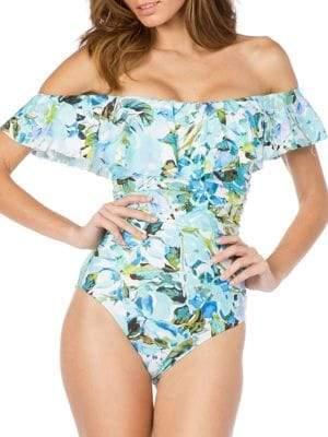 c8322d96814 One-Piece Off-Shoulder Botanical Ruffle Swimsuit