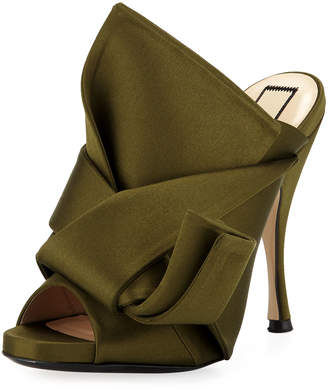 No.21 No. 21 Pleated Satin 100mm Mule Sandal