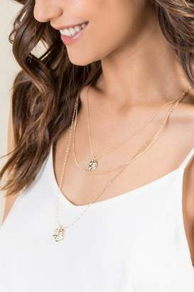 francesca's Mara Gold Double Layer Coin Necklace - Gold