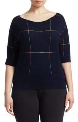 Marina Rinaldi Marina Rinaldi, Plus Size Artefice Knit Wool Short-Sleeve Sweater