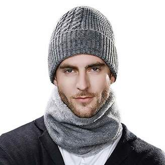 64fa0cbbc08e0 Jeff   Aimy Unisex Warm Fleece Lined Knitted Beanie Hat and Circle Scarf  Winter Ski hat
