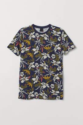 H&M Patterned Muscle Fit T-shirt - Blue