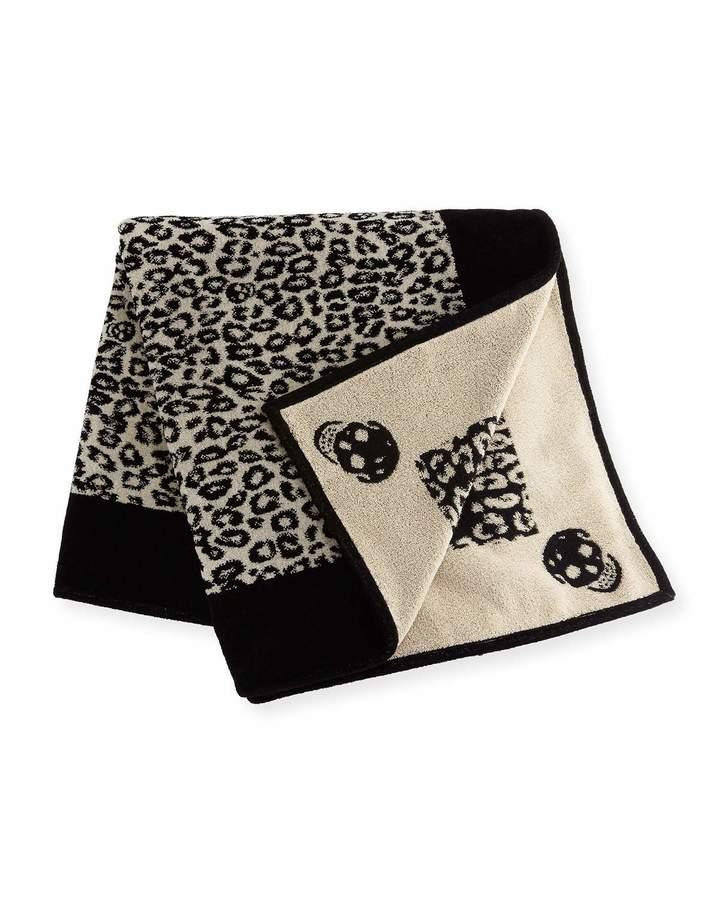 Alexander McQueen Leopard Skull Beach Towel Black