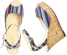 WetSeal Printed Cork Wedge Blue