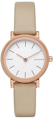 Women's Skagen 'Hald' Leather Strap Watch, 26Mm $145 thestylecure.com