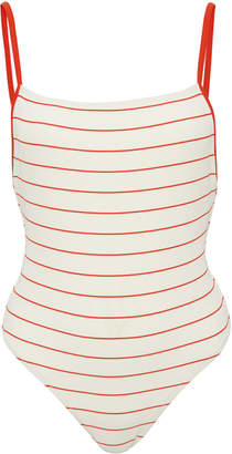 Solid & Striped Chelsea Pinstriped Rib-Knit Swimsuit