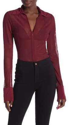 CQ by CQ Sheer Mesh Front Zip Up Long Sleeve Bodysuit