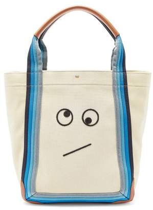 Anya Hindmarch Amused Face Pont Small Canvas Tote Bag - Womens - Beige Multi