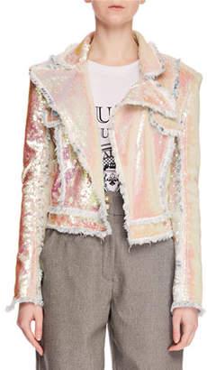 Balmain Allover Paillettes Denim Jacket w/ Frayed Edges