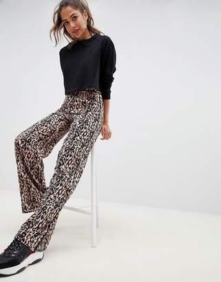 Miss Selfridge wide leg pants in leopard print