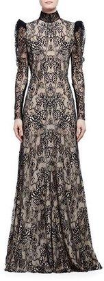 Alexander McQueen Long-Sleeve Open-Back Lace Gown, Black/Flesh