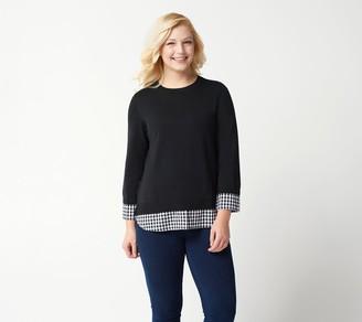 Joan Rivers Classics Collection Joan Rivers 3/4-Sleeve Gingham Peekaboo Sweater