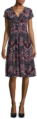 Perceptions Short Sleeve Lace Pattern Fit & Flare Dress