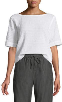 Eileen Fisher Grid-Textured Organic Cotton Voile Top, Petite