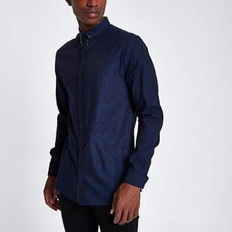 River Island Mens Navy jacquard printed slim fit shirt