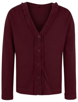 George Girls Burgundy Ruffle Front V-Neck School Cardigan 543e973df