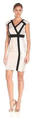 Jax Women's Short Sleeve Metallic Knit Sheath