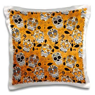 3dRose Orange, White, and Black Tossed Sugar Skulls Pattern - Pillow Case, 16 by 16-inch