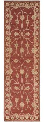 """Alcott Hill One-of-a-Kind Mabini Hand-Knotted Runner 2'7"""" x 8'10"""" Wool Dark Burgundy Area Rug Alcott Hill"""