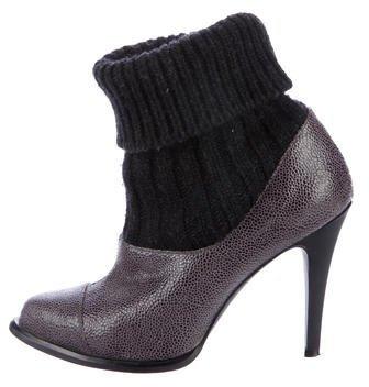 Stella McCartney Knit-Trimmed Embossed Booties