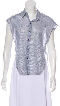 Theyskens' Theory Striped Sleeveless Button-Up Top